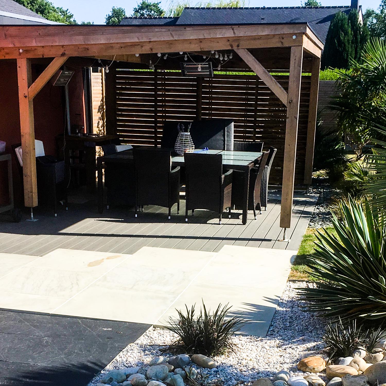 Abri Bois Pour Terrasse structure bois - esprit extérieur paysagiste ille-et-vilaine